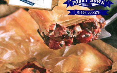 Porky Down's sausage and filo pie