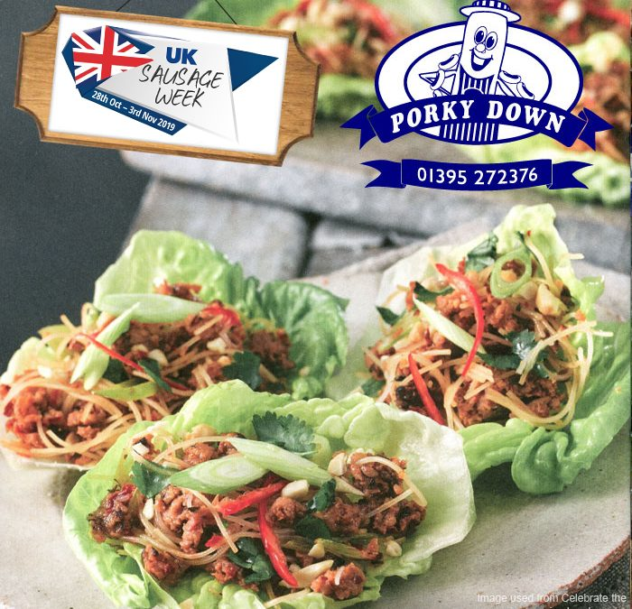 Porky Down's Thai Sausage lettuce cups